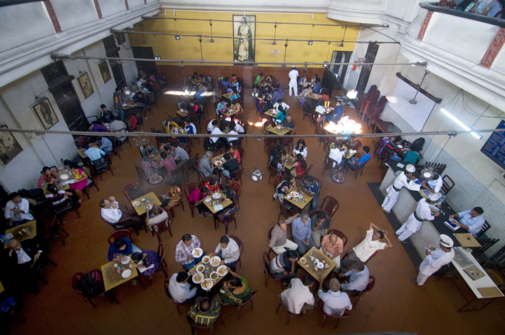 A view from the upper floor of the Coffee House that overlooks the lower floor hall. Photo: Sugato Mukherjee