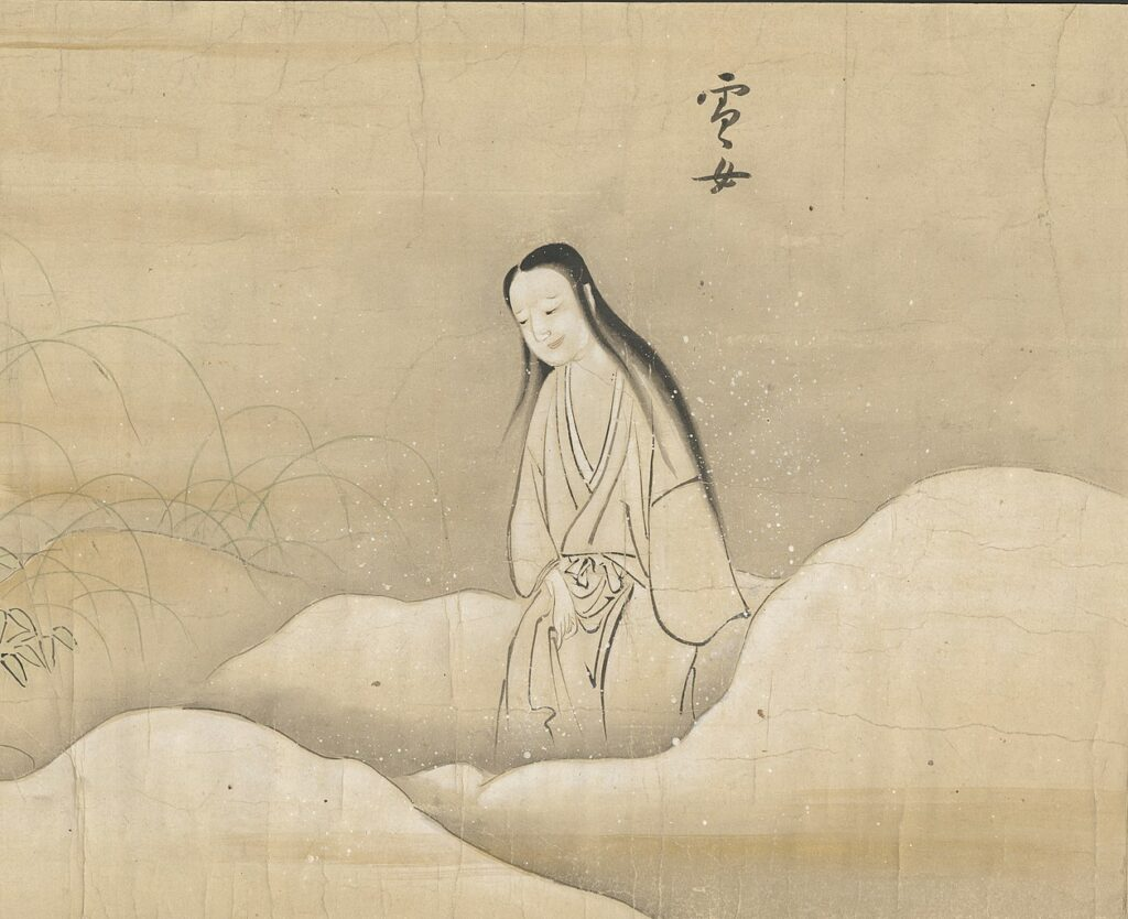 Yuki-onna 雪女 from Bakemono no e (化物之繪, c. 1700), Harry F. Bruning Collection of Japanese Books and Manuscripts, L. Tom Perry Special Collections, Harold B. Lee Library, Brigham Young University. Courtesy CC BY-SA 4.0