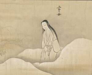 Yokai Yuki-onna 雪女 from Bakemono no e (化物之繪, c. 1700), Harry F. Bruning Collection of Japanese Books and Manuscripts, L. Tom Perry Special Collections, Harold B. Lee Library, Brigham Young University. Courtesy CC BY-SA 4.0
