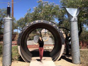 Breana Johnson at the entrance of Arizona Falls.