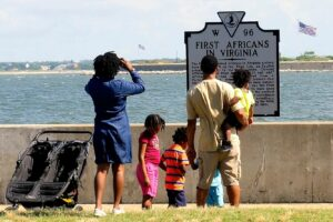 Fort Monroe First African Marker. Photo: Patti Ferguson (permission granted by the National Trust for Historic Preservation.