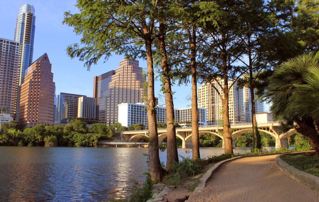 Austin skyline and river bank