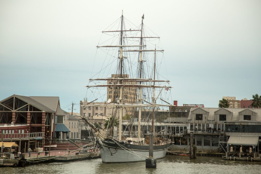 Ship in the Galveston Harbor.