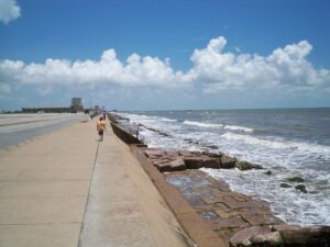 Seawall Beach in Galveston
