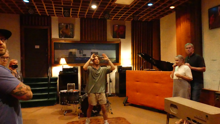 Sam in Studio A in the FAME studio. Photo: Kathleen Walls