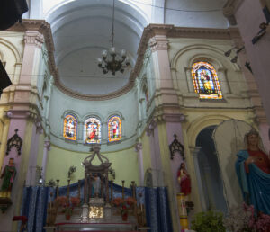 The ornate interiors of Sacred Heart Church in Chandannagar that houses some of the finest stained glass windows. Founded by the French in 1874. Photo: Sugato Mukherjee