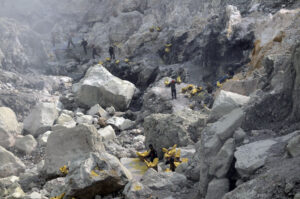 Sulfur miners on Mount Ijen. Photo: Bandita Mukherjee