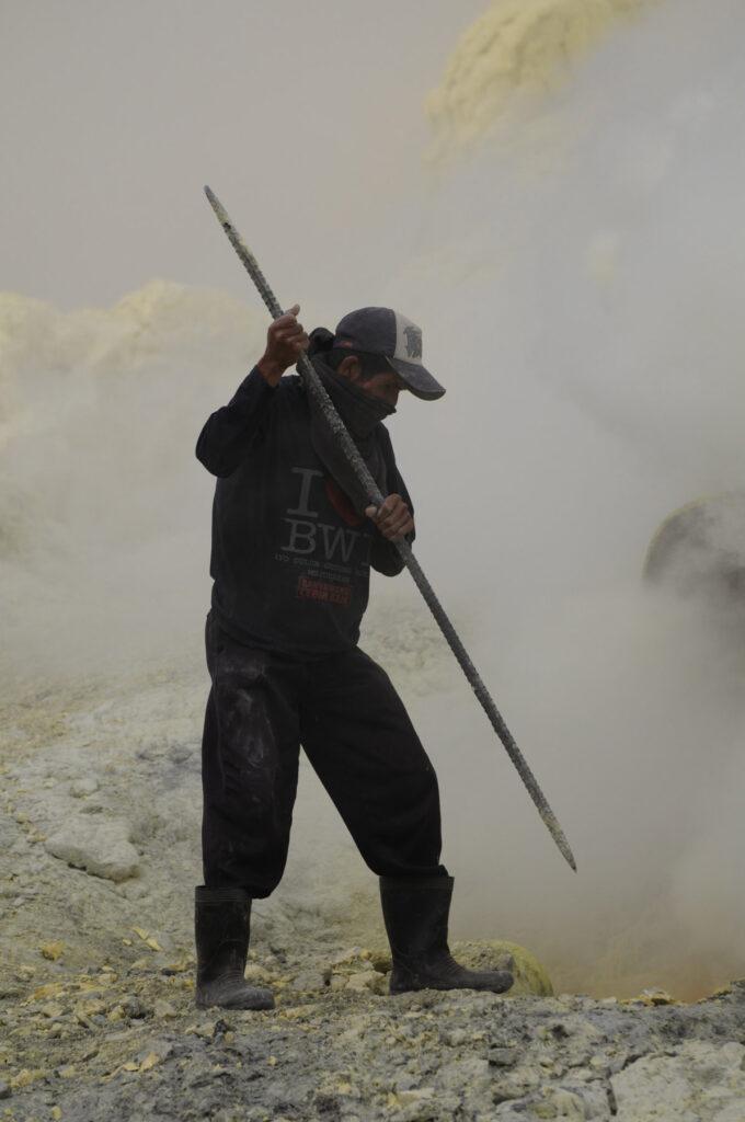 Sulfur miner on Mount Ijen