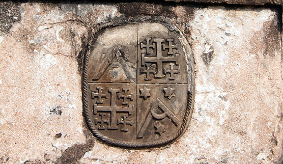 The Dutch Coat of Arms engraved on an 18th century grave in the Dutch cemetery. Photo: Sugato Mukherjee