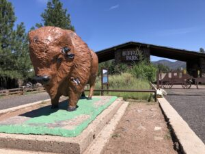The iconic buffalo statue. Photo: Breana Johnson
