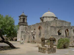 The church of Mission San José y San Miguel de Aguayo in San Atonio, Texas.