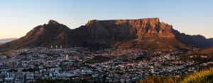 A view of Table Mountain in Cape Town, South Africa.