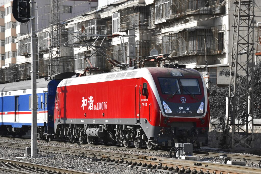 Train arriving at Lanzhou station in China.
