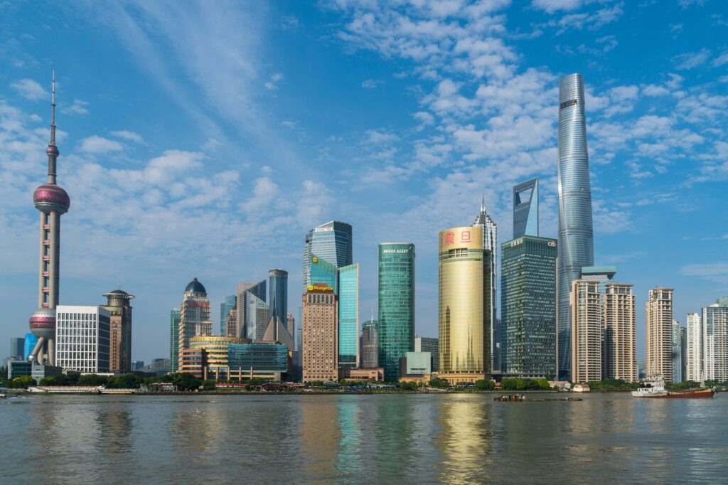 View from the Bund in Shanghai, China.
